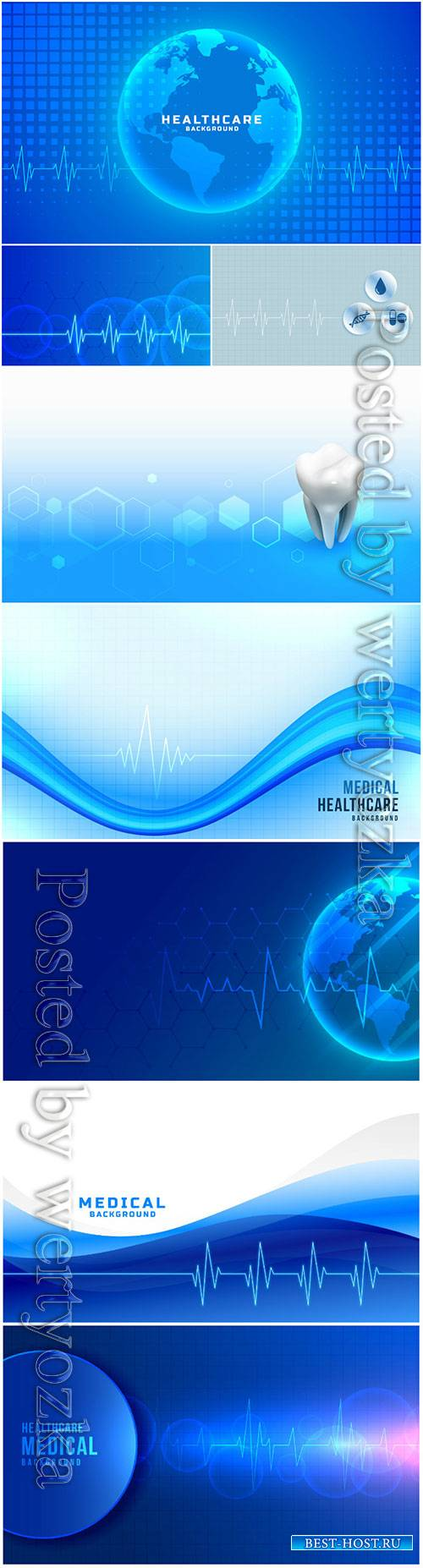 Global healthcare medical vector background blue color theme