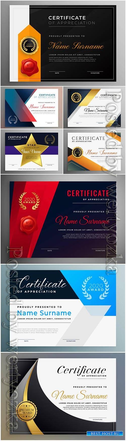 Certificate of appreciation professional vector template