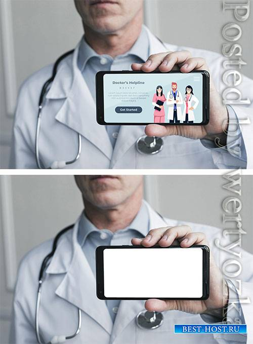 Person holding doctor's helpline landing page on mobile phone