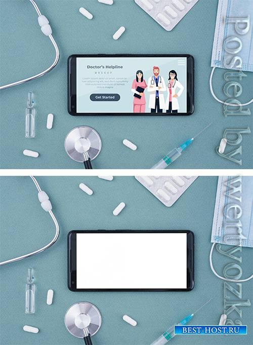 Doctor's helpline landing page on smart phone