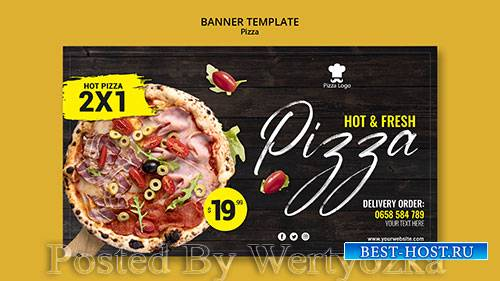 Pizza restaurant banner template with photo