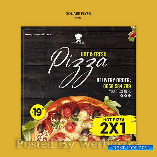 Pizza restaurant square flyer