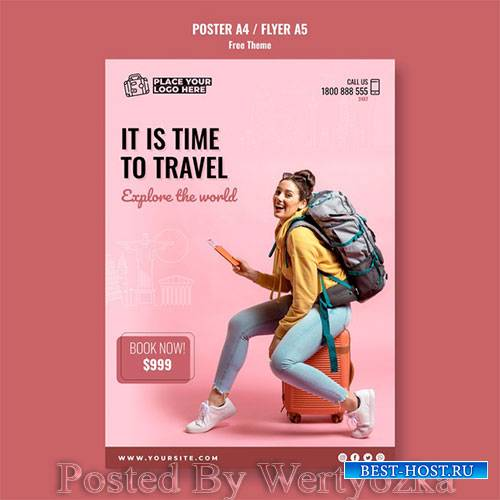 Time to travel poster template with photo