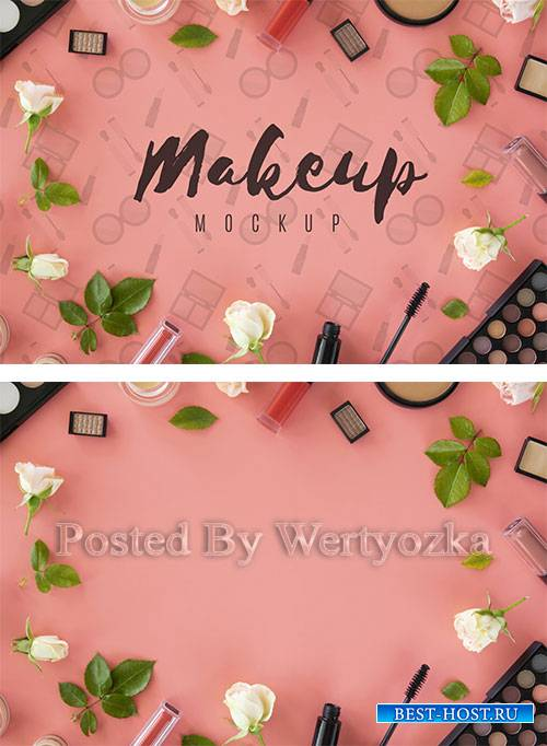 Top view arrangement with make-up products