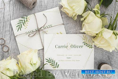 Top view wedding invitation with mock-up