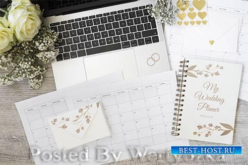 Top view wedding planner with mock-up