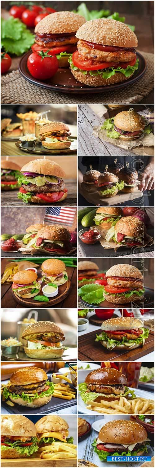 Big meat burger wooden board stock photo set