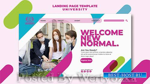 University landing page template style