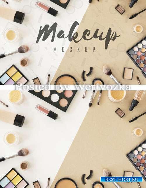 Top view beauty products arrangement