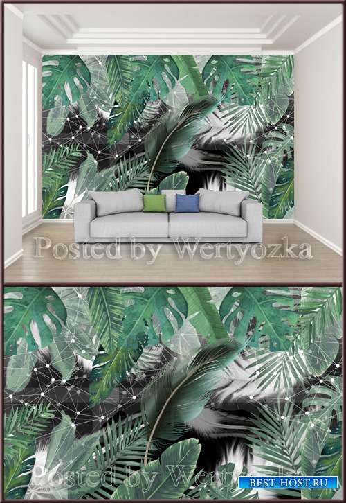 3D psd background wall small fresh green leafy plant feather