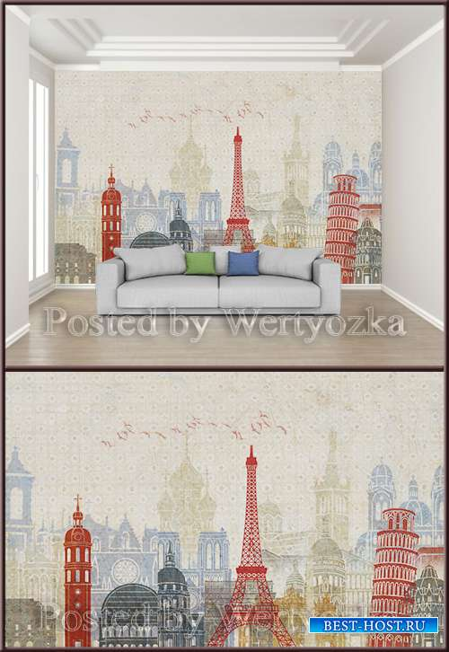3D psd background wall retro abstract city architecture
