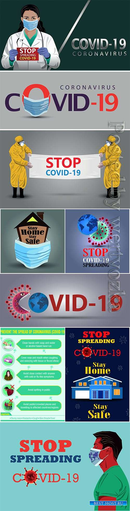 COVID 19, Coranavirus vector illustration sets # 15