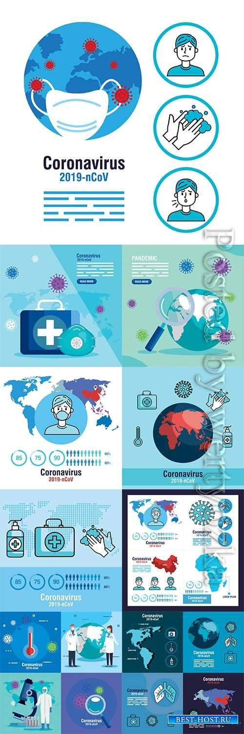COVID 19, Coranavirus vector illustration sets # 13