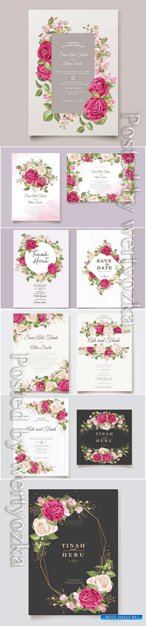 Wedding invitation cards with flowers in vector