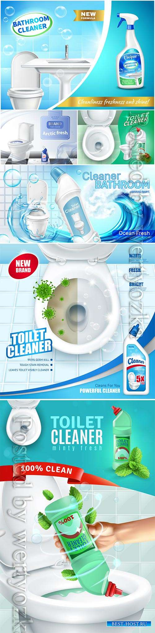 Cleaning products for toilet room advertising poster in vector