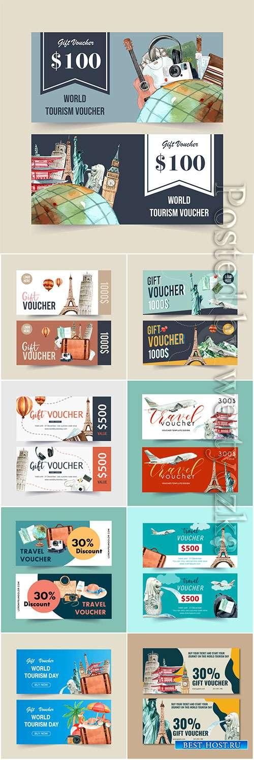 Tourism voucher vector design
