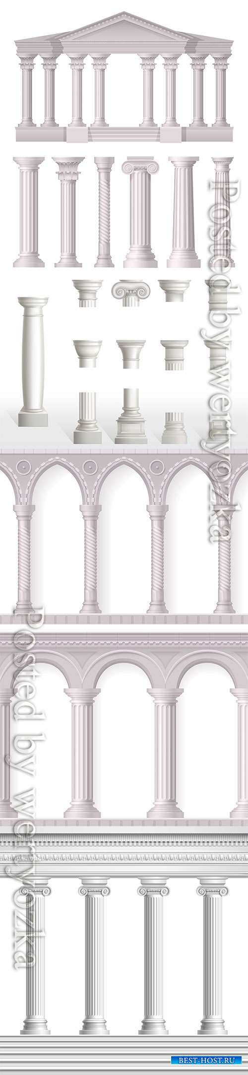 Antique white columns realistic set with different styles
