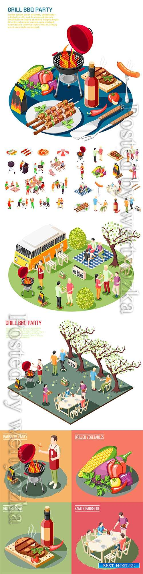Barbecue grill party isometric icons collection with isolated icons grill f ...