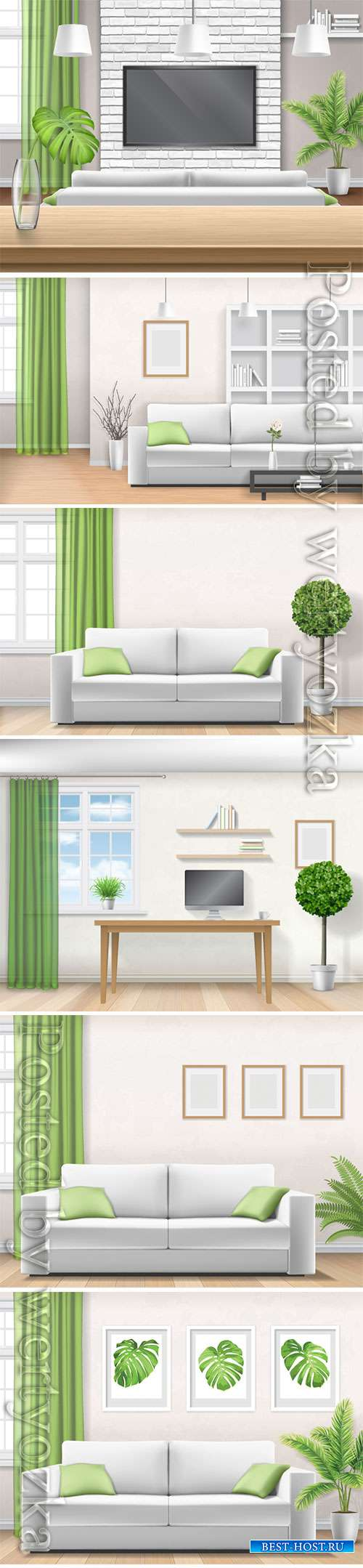 Realistic home interior vector template # 5