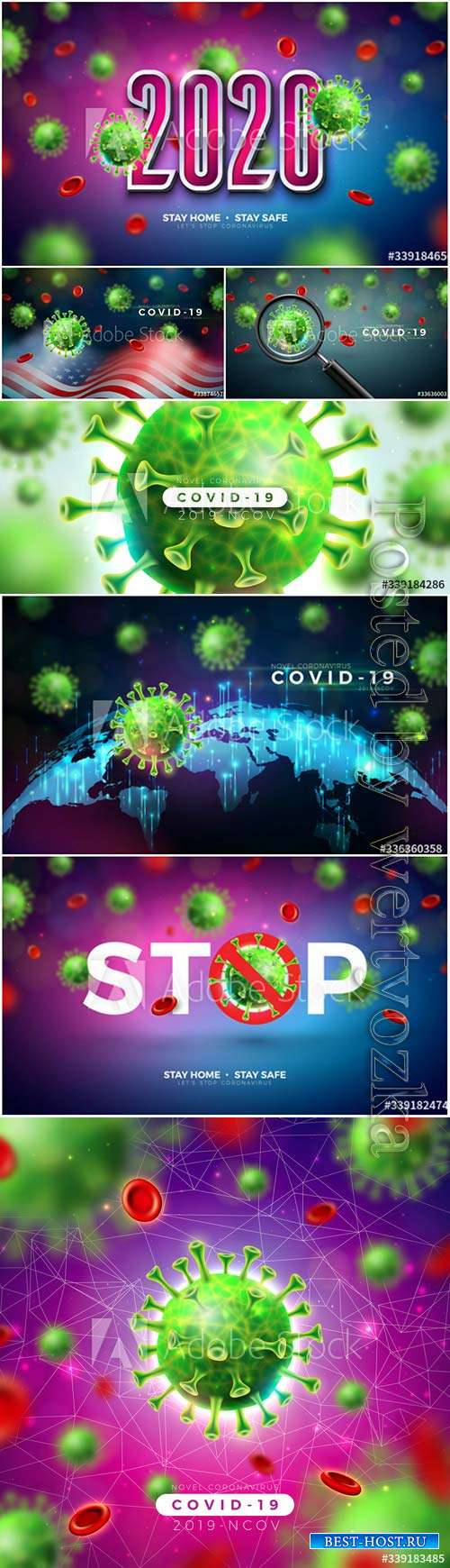 Stay home, stop coronavirus vector design