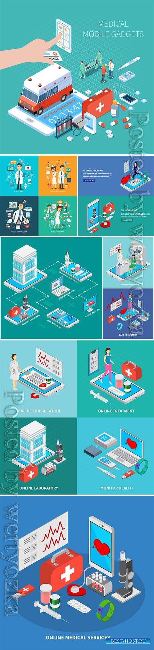 Medicine isometric vector illustration