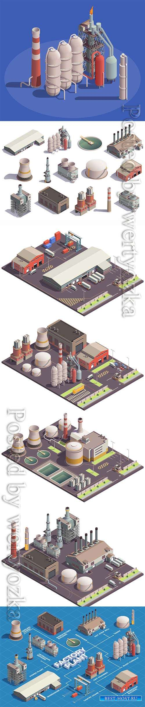 Industrial buildings isometric icons vector set
