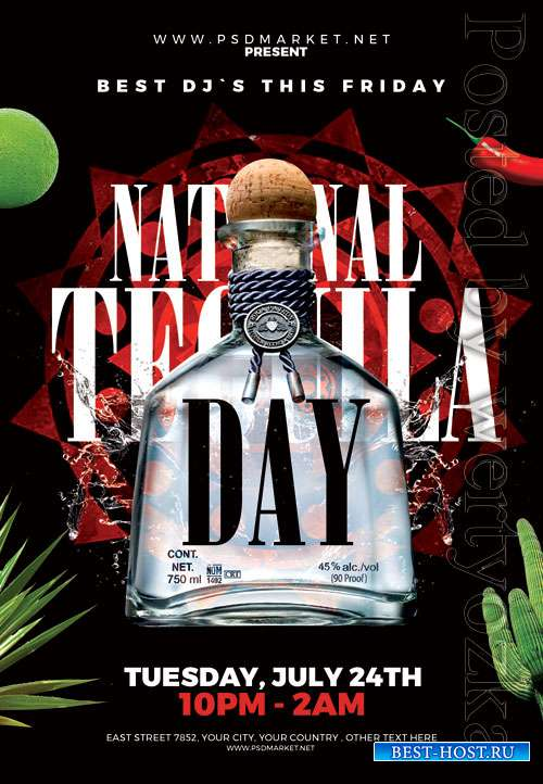 Tequila day - Premium flyer psd template