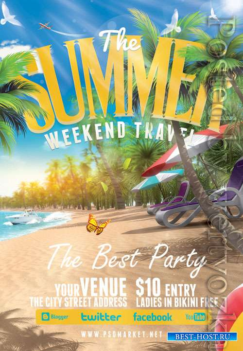 Summer weekend travel - Premium flyer psd template