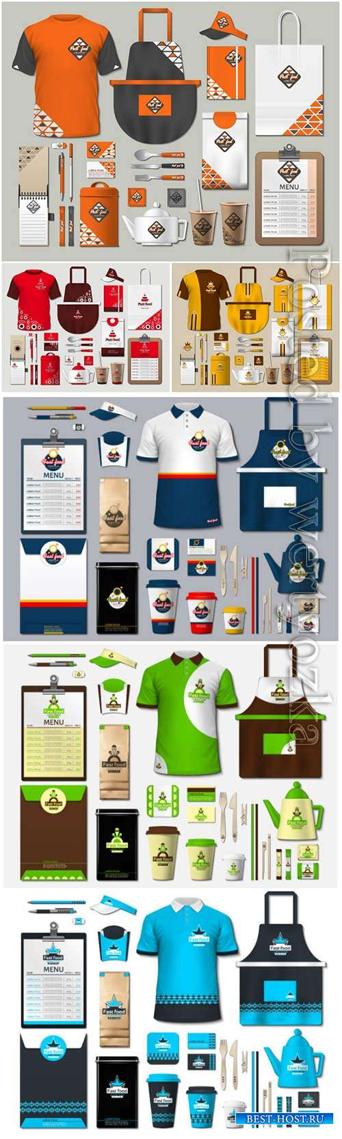 Coffee shop stationery with vector design