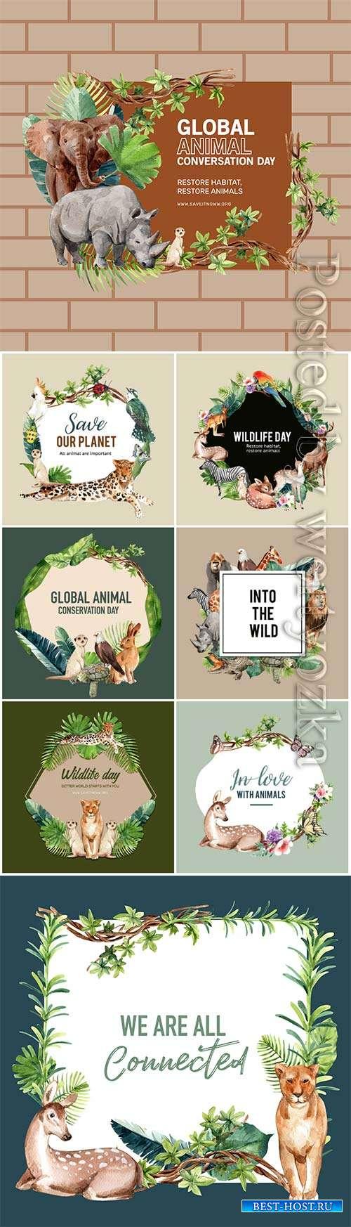 Zoo wreath design with eagle, gorilla, giraffe, rhino watercolor illustrati ...