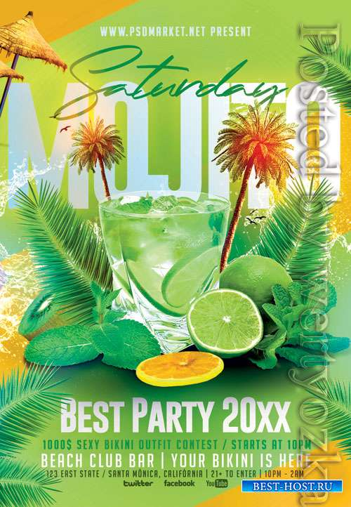 Mojito saturday - Premium flyer psd template