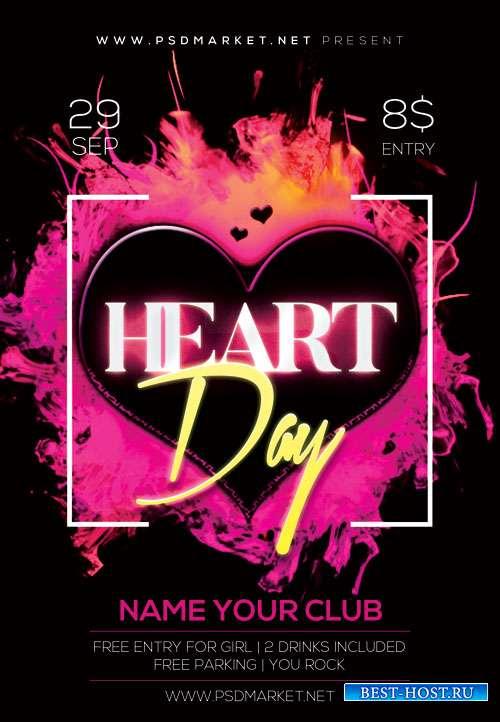 Heart day - Premium flyer psd template