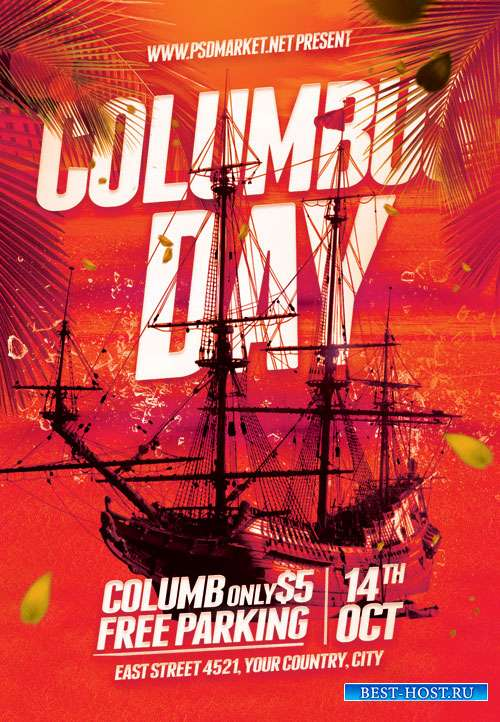 Columbus day party - Premium flyer psd template