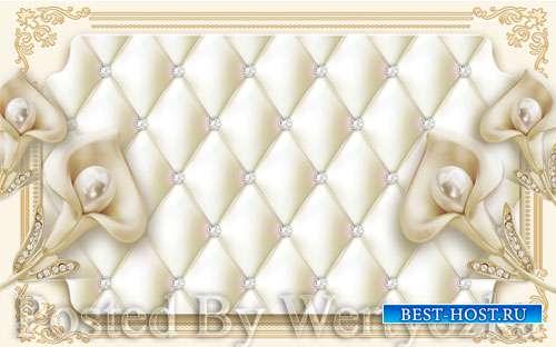 3D psd models light luxury creative soft bag jewelry flower background wall