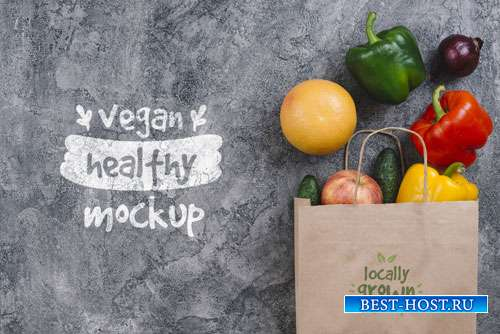 Shopping bag with bell pepper vegan food mock-up