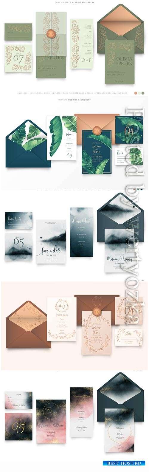 Wedding stationery vector design