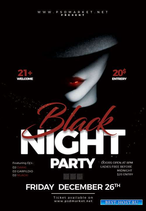 Black night party event - Premium flyer psd template