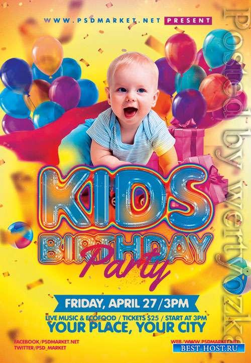 Kids birthday event - Premium flyer psd template