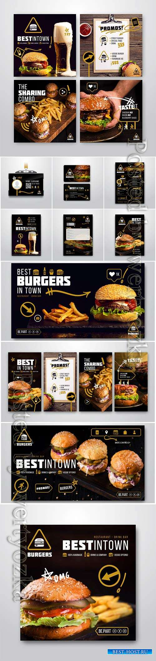 Burger restaurant flyer vector template