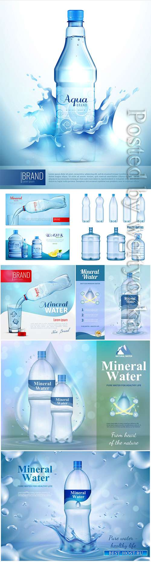 Water bottle ad banner, flask with drink, splashing water drops in vector
