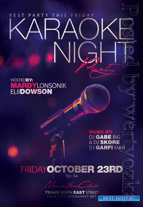 Karaoke night party - Premium flyer psd template