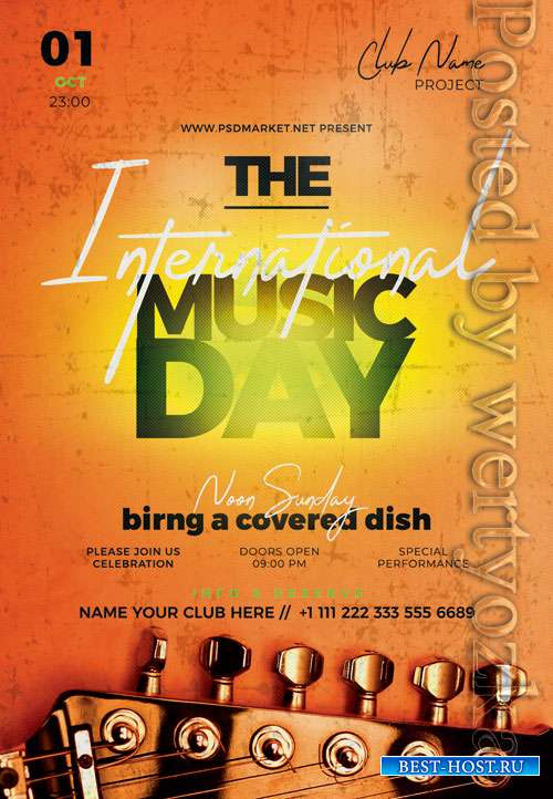 International music day - Premium flyer psd template