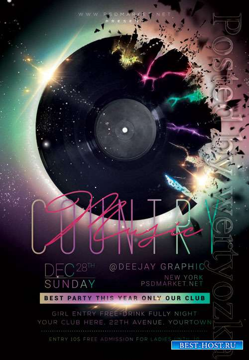 Country music event - Premium flyer psd template