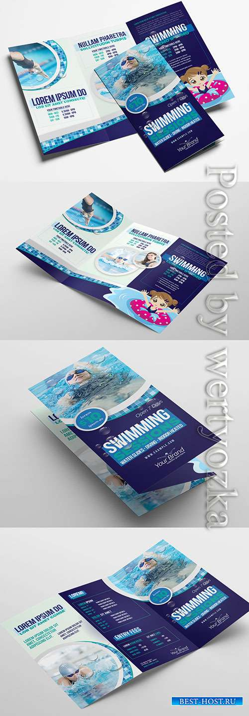 Trifold Brochure Layout for Swimming Lessons