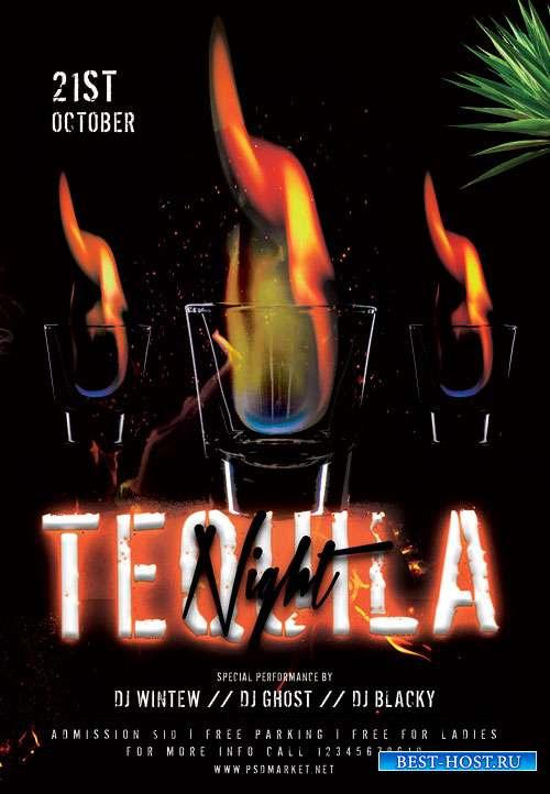 Tequila night - Premium flyer psd template