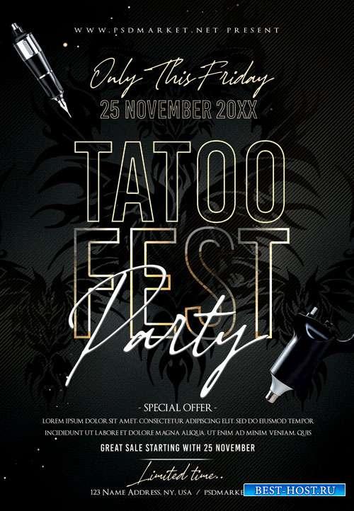 Tattoo fest party - Premium flyer psd template
