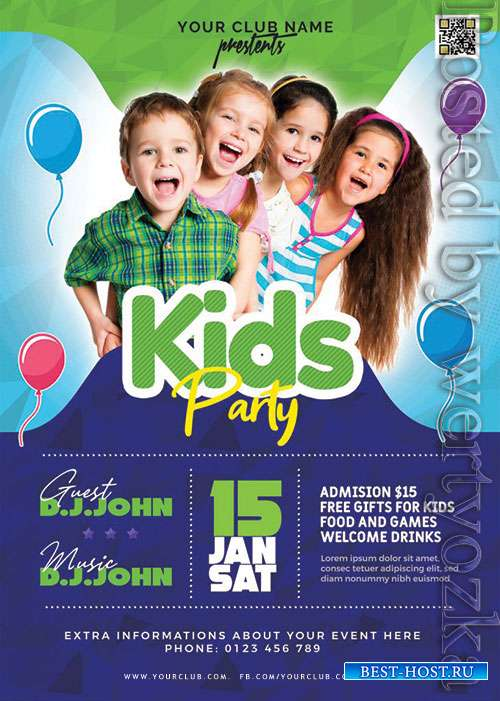Amazing Kids Party Flyer PSD Template