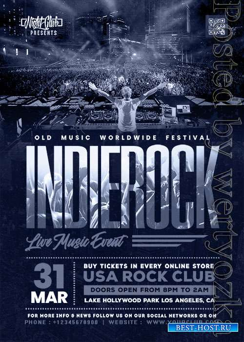 Indie Rock Live Music Event PSD Flyer Template
