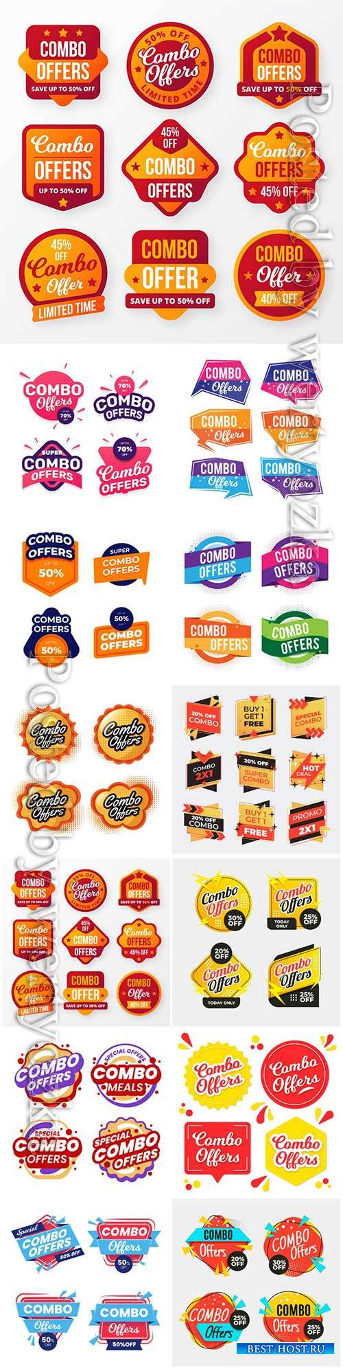 Combo offers labels vector collection