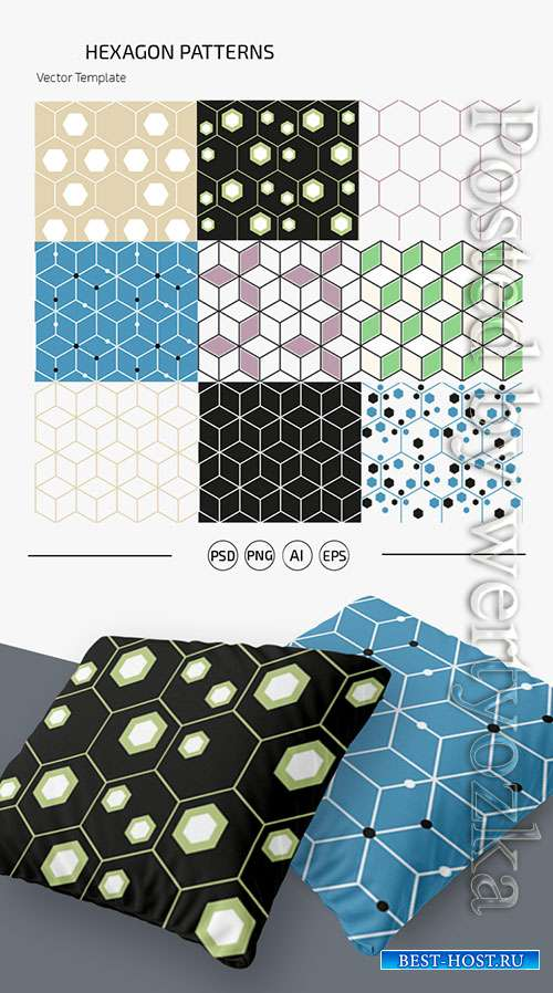 HEXAGON PATTERN SET TEMPLATE IN PSD + AI, EPS